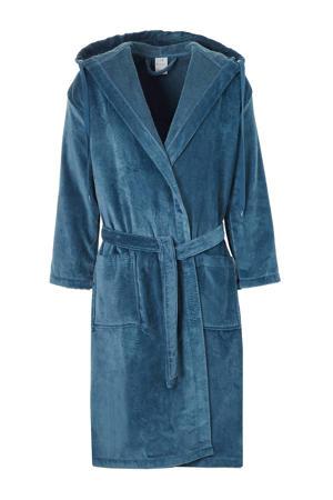 velours badjas met capuchon blauw