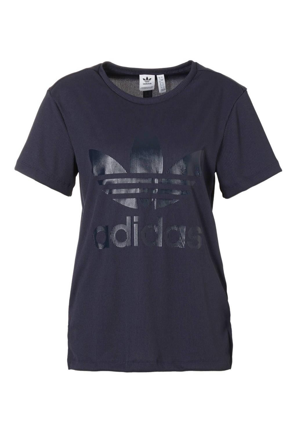455f5a4ecae adidas originals T-shirt, Donkerblauw/wit