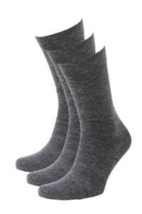 whkmp's own sokken wol (3 paar), Antraciet melange