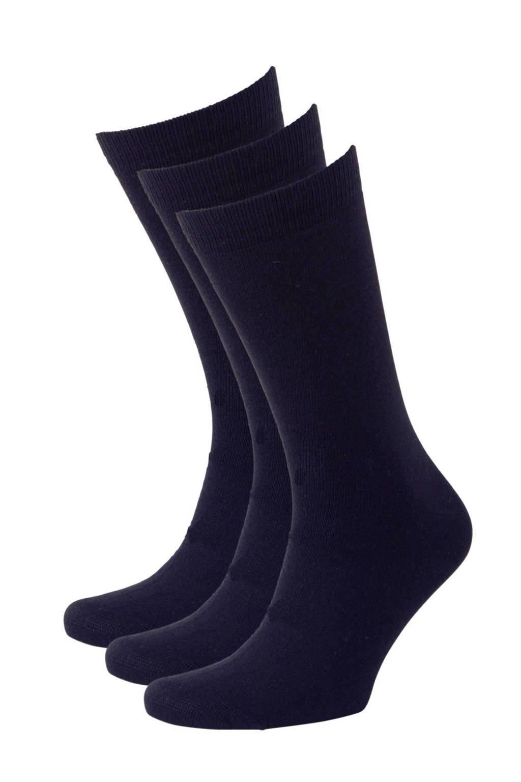 whkmp's own sokken wol (3 paar), Marine blauw