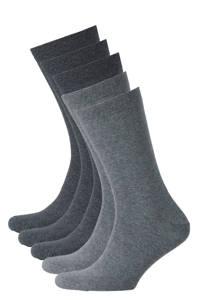 whkmp's own sokken biologisch katoen - set van 5 grijs, Grijs/donkergrijs