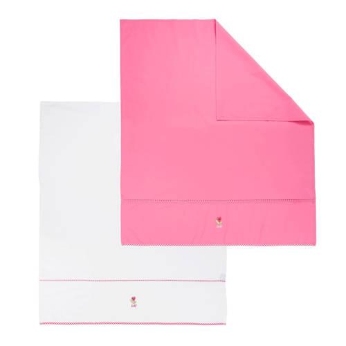 ledikantlaken 100x150 cm wit-roze (2 stuks)