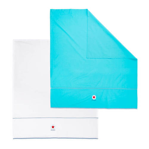ledikantlaken 100x150 cm blauw-wit (2 stuks)