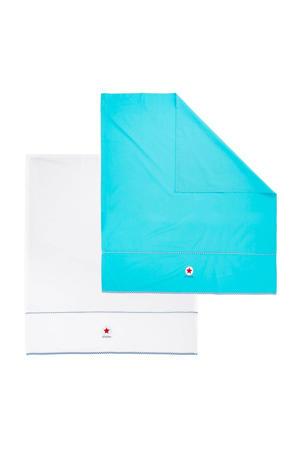 baby ledikantlaken 100x150 cm blauw/wit (2 stuks)
