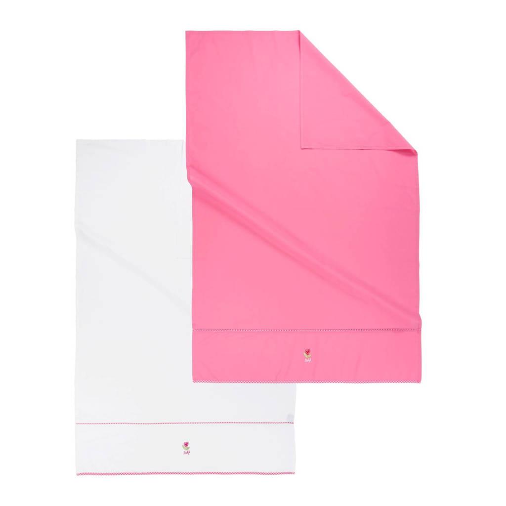 lief! wieglaken 80x100 cm wit/roze (2 stuks), Roze/wit