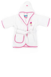 badjas 1-2 jaar wit/roze