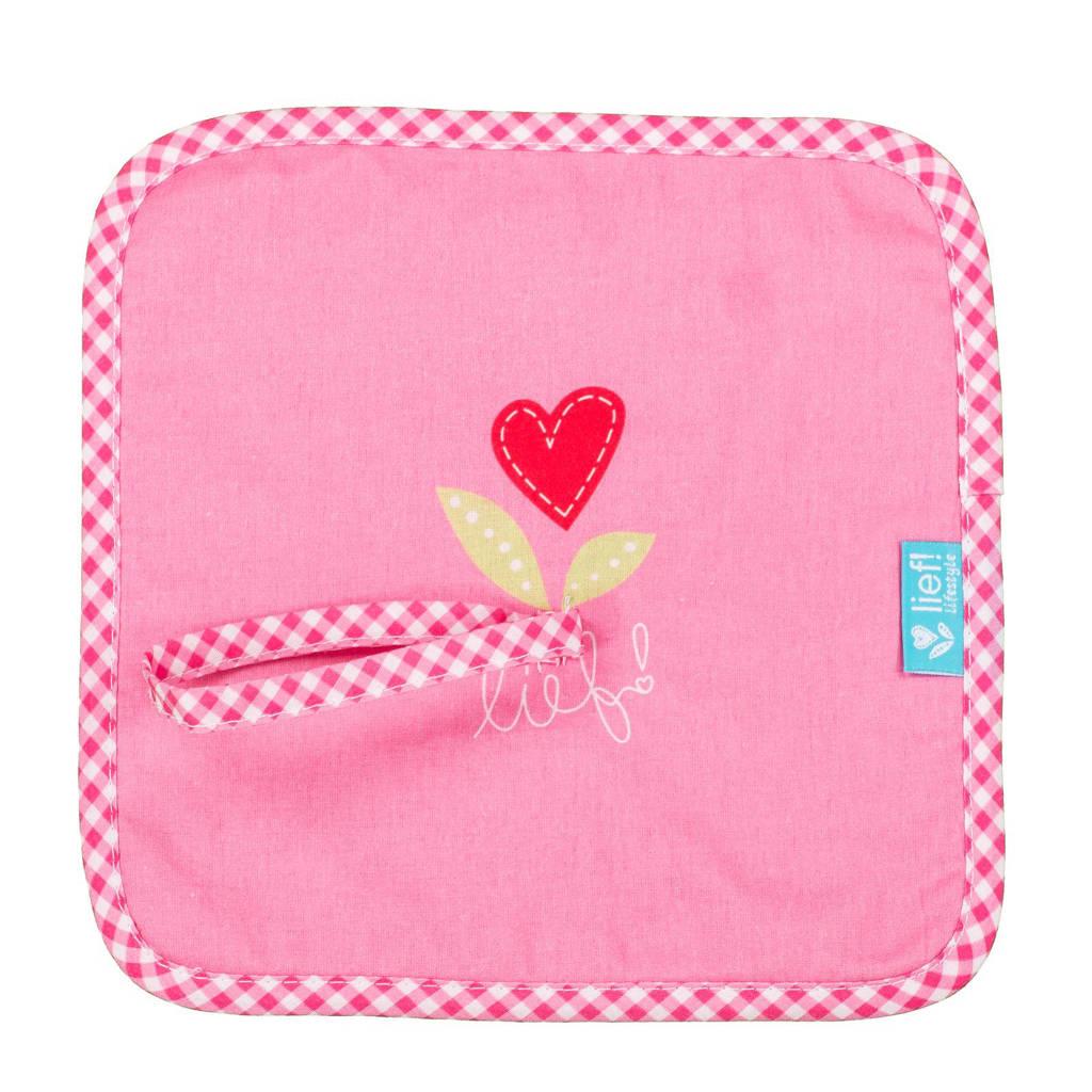 lief! speendoekje roze knuffeldoekje, Roze
