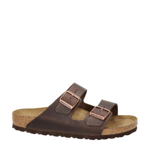Arizona  leren slippers bruin