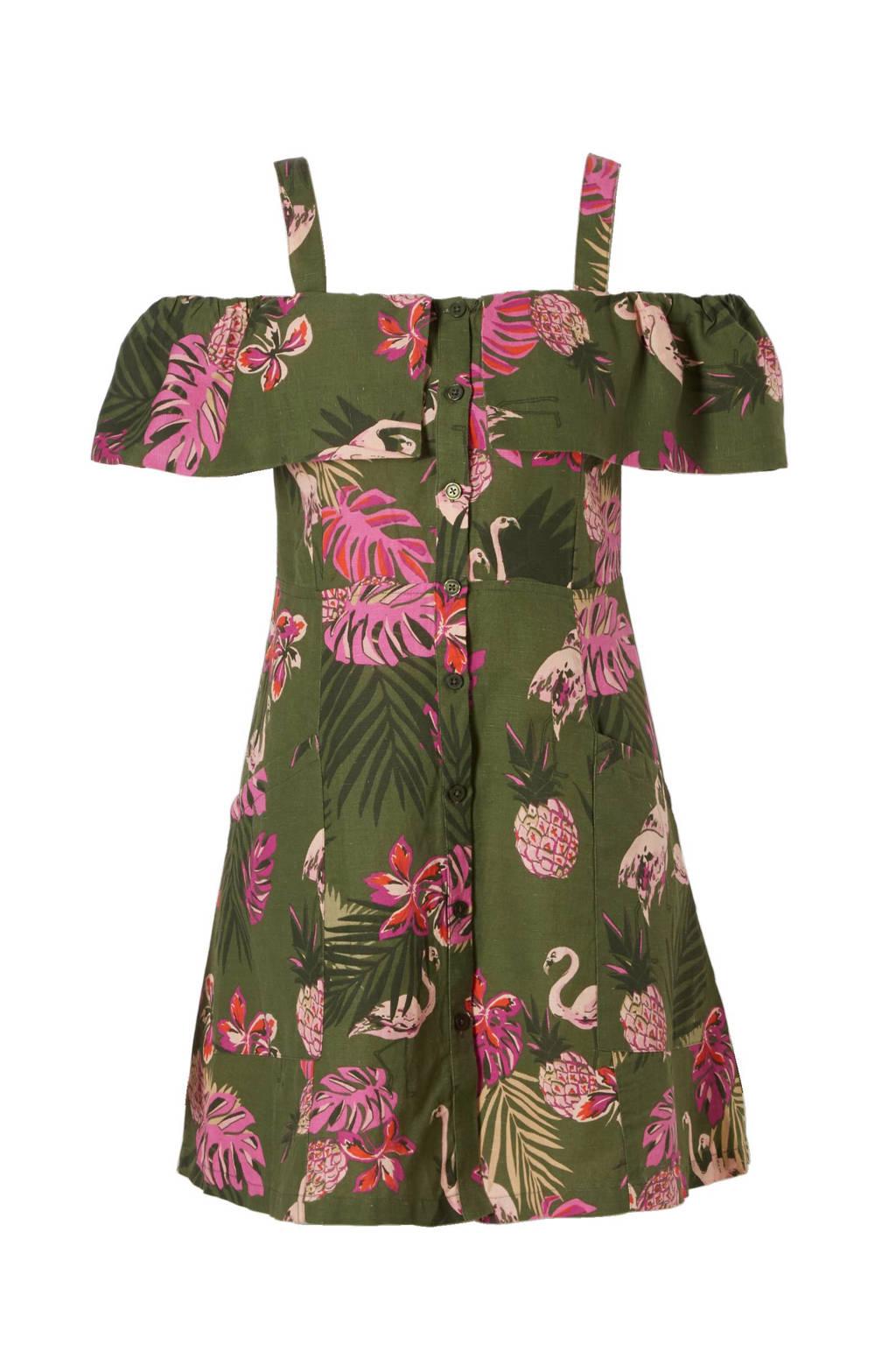 Mango off shoulder jurk met linnen, Groen/roze