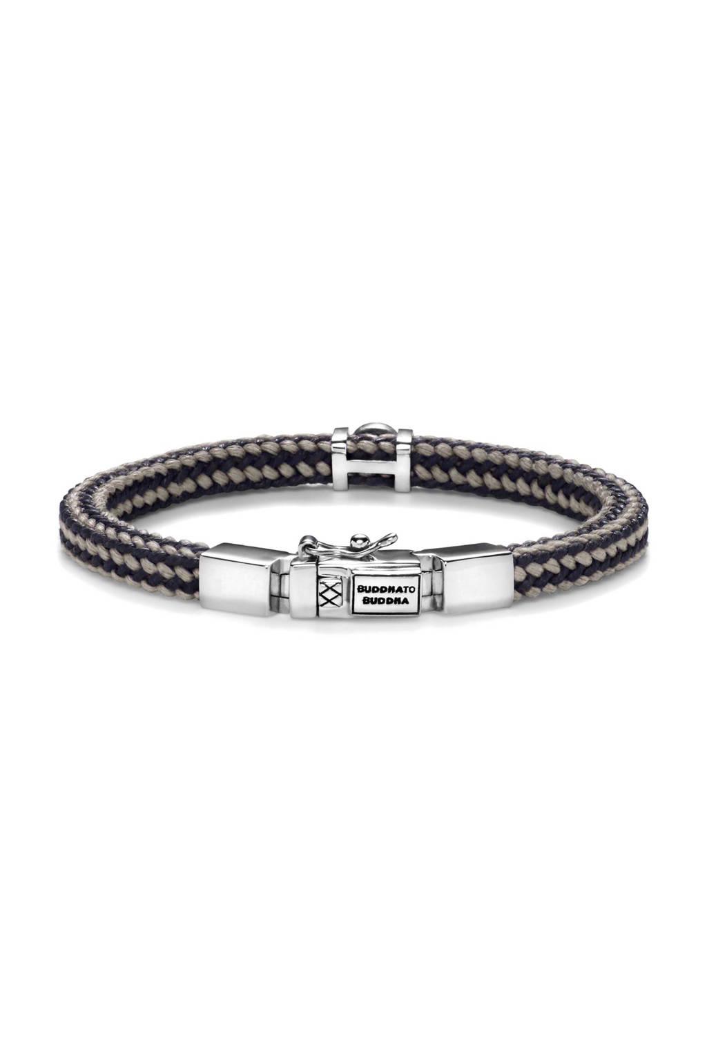 Buddha To Buddha Denise Cord Mix Grey armband, Taupe/zwart/zilver