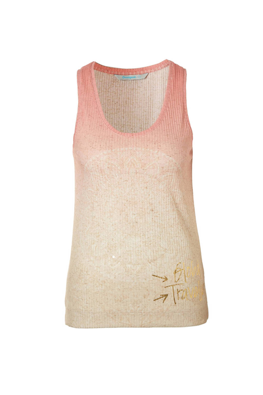 Desigual singlet met linnen, Roze/beige