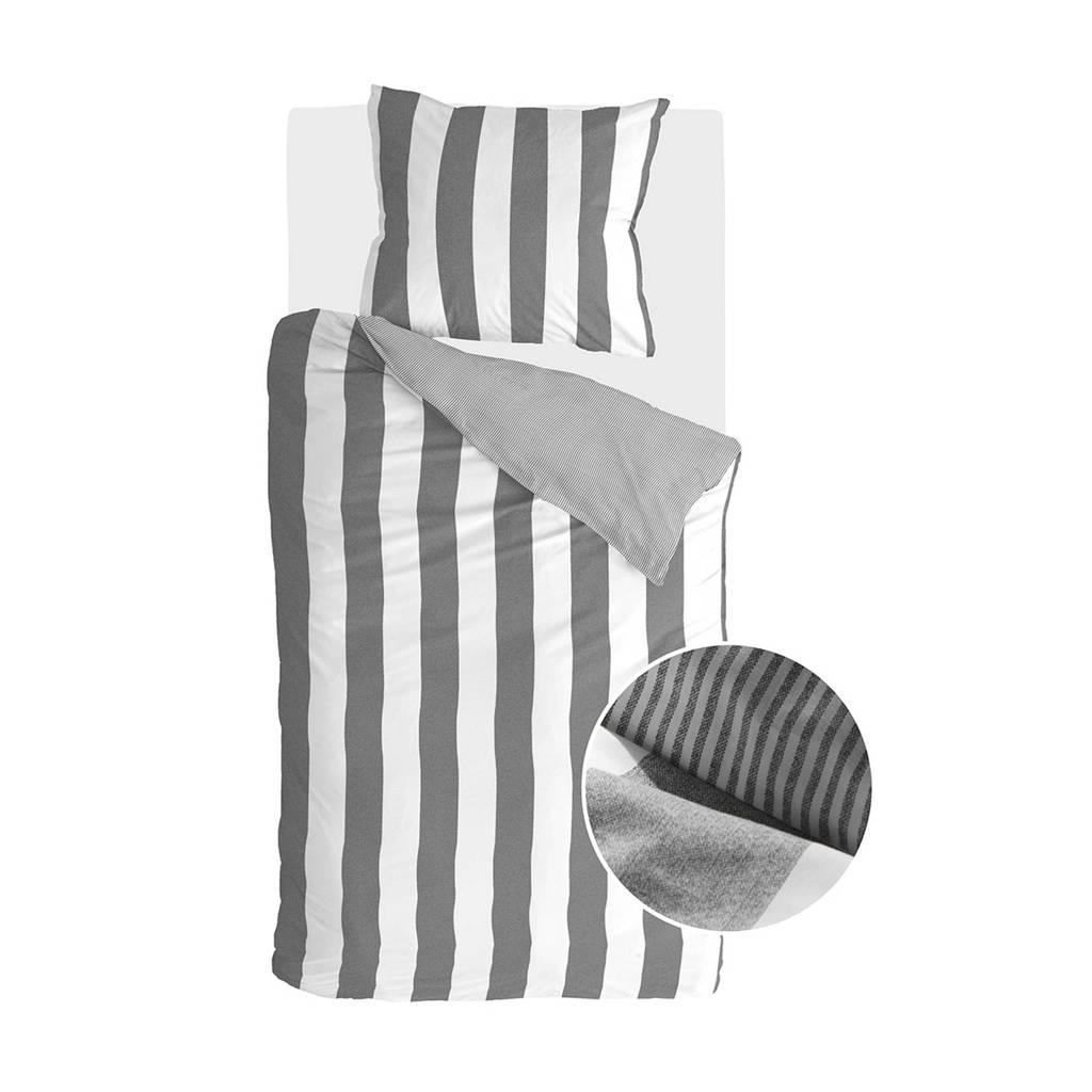Walra katoenen dekbedovertrek 1 pers., Grijs/wit, 1 persoons (140 cm breed)