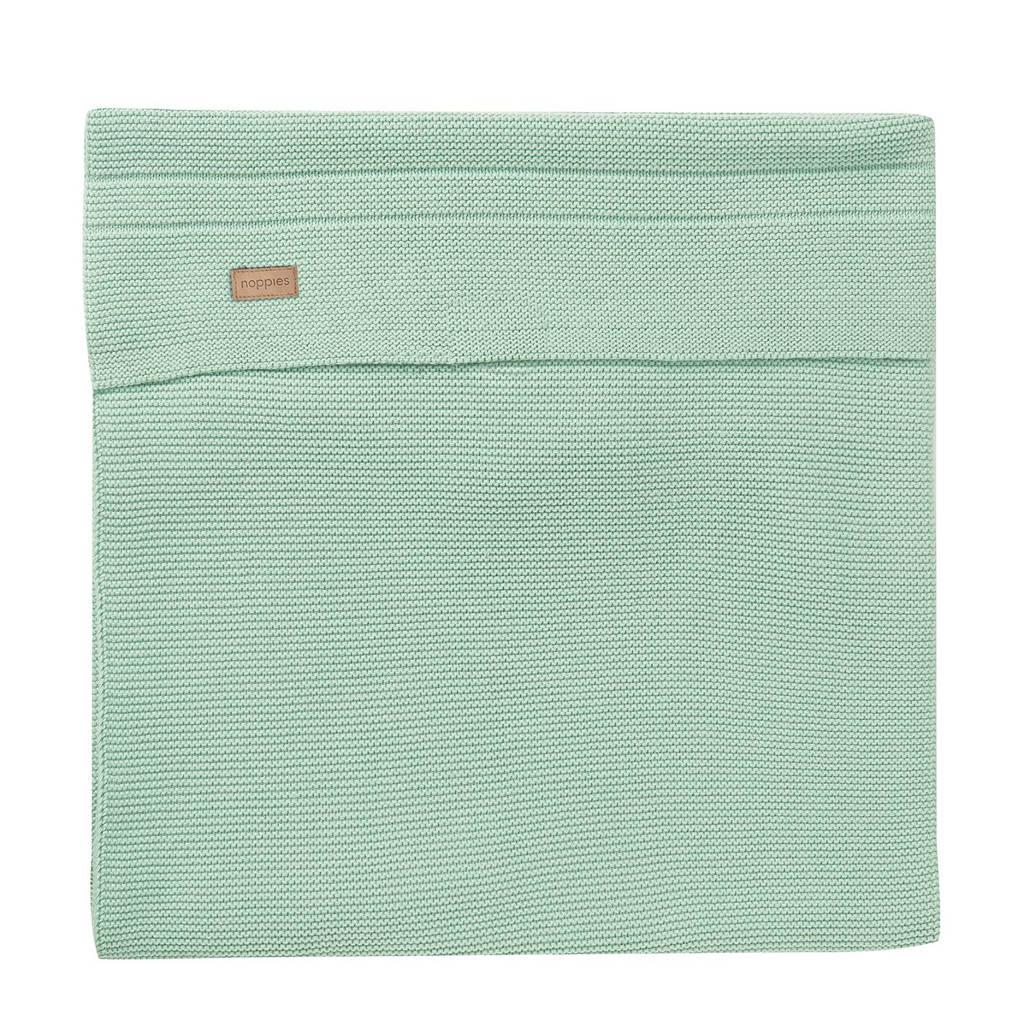Noppies ledikantdeken knit Nola 120x120cm grey mint, Grey mint