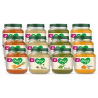 Olvarit Variatiemenu Groente - groentehapje voor baby's vanaf 4+ maanden - 4 verschillende smaken babyvoeding - 12 groentepotjes van 125 gram