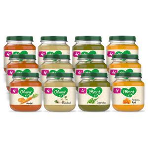 Variatiemenu Groente - groentehapje voor baby's vanaf 4+ maanden - 4 verschillende smaken babyvoeding - 12 groentepotjes van 125 gram