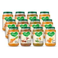 Olvarit Variatiemenu Maaltijd - babyhapje voor baby's vanaf 6+ maanden - 4 verschillende smaken babyvoeding - 12 maaltijdpotjes van 200 gram