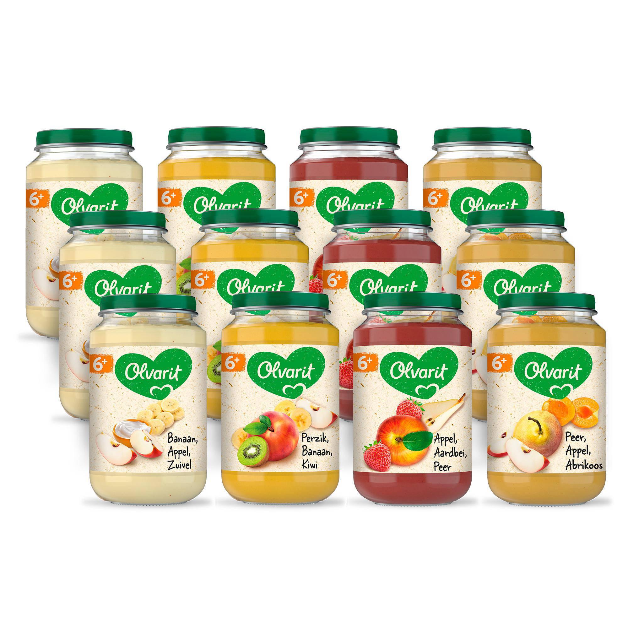Olvarit babyvoeding menu 6+ mnd fruit (12x 200 gr)