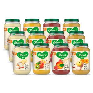 Variatiemenu Fruit - fruithapje voor baby's vanaf 6+ maanden - 4 verschillende smaken babyvoeding - 12 fruitpotjes van 200 gram