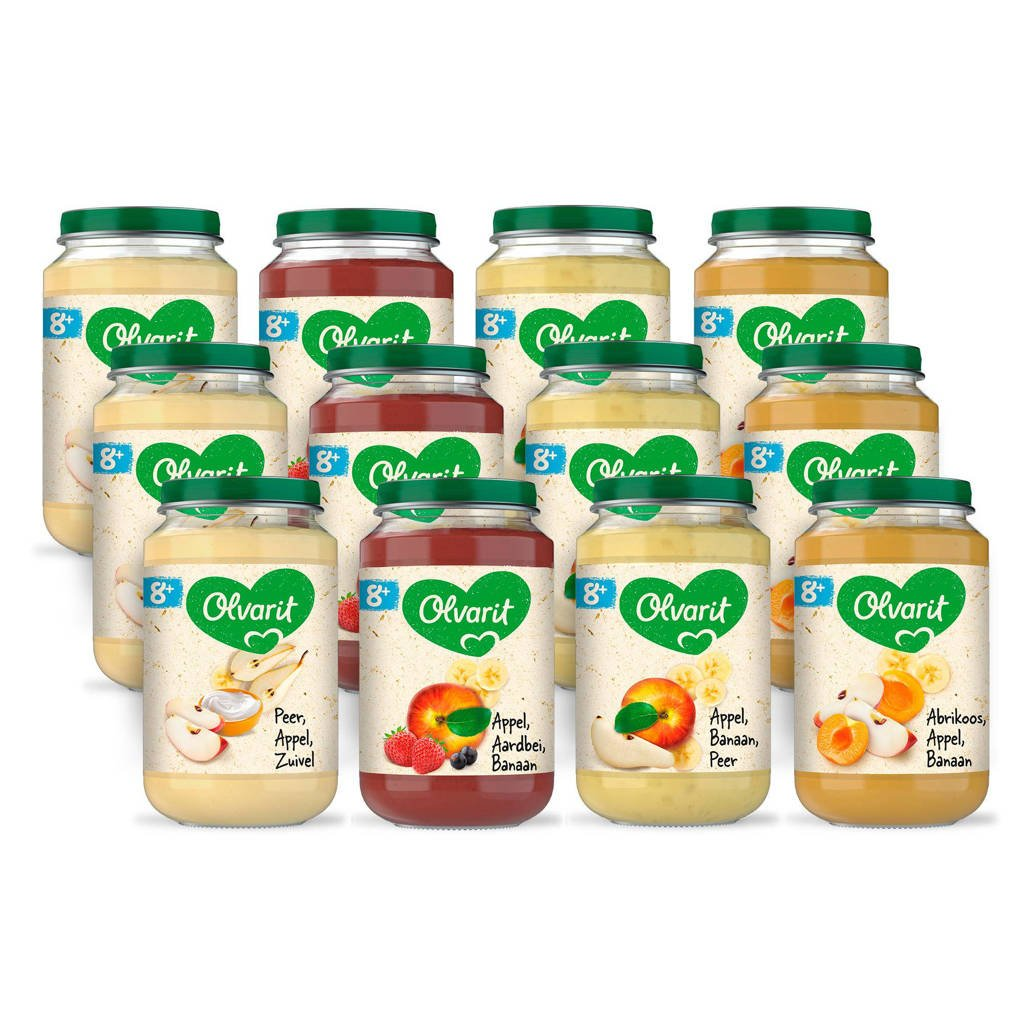 Olvarit babyvoeding menu 8+ mnd fruit (12x 200 gr)