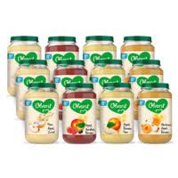 Olvarit Variatiemenu Fruit - fruithapje voor baby's vanaf 8+ maanden - 4 verschillende smaken babyvoeding - 12 fruitpotjes van 200 gram