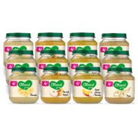 Olvarit Variatiemenu Fruit - fruithapje voor baby's vanaf 4+ maanden - 4 verschillende smaken babyvoeding - 12 fruitpotjes van 125 gram