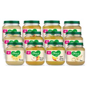 Variatiemenu Fruit - fruithapje voor baby's vanaf 4+ maanden - 4 verschillende smaken babyvoeding - 12 fruitpotjes van 125 gram
