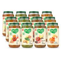 Olvarit Variatiemenu Maaltijd - babyhapje voor baby's vanaf 12+ maanden - 4 verschillende smaken babyvoeding - 12 maaltijdpotjes van 250 gram