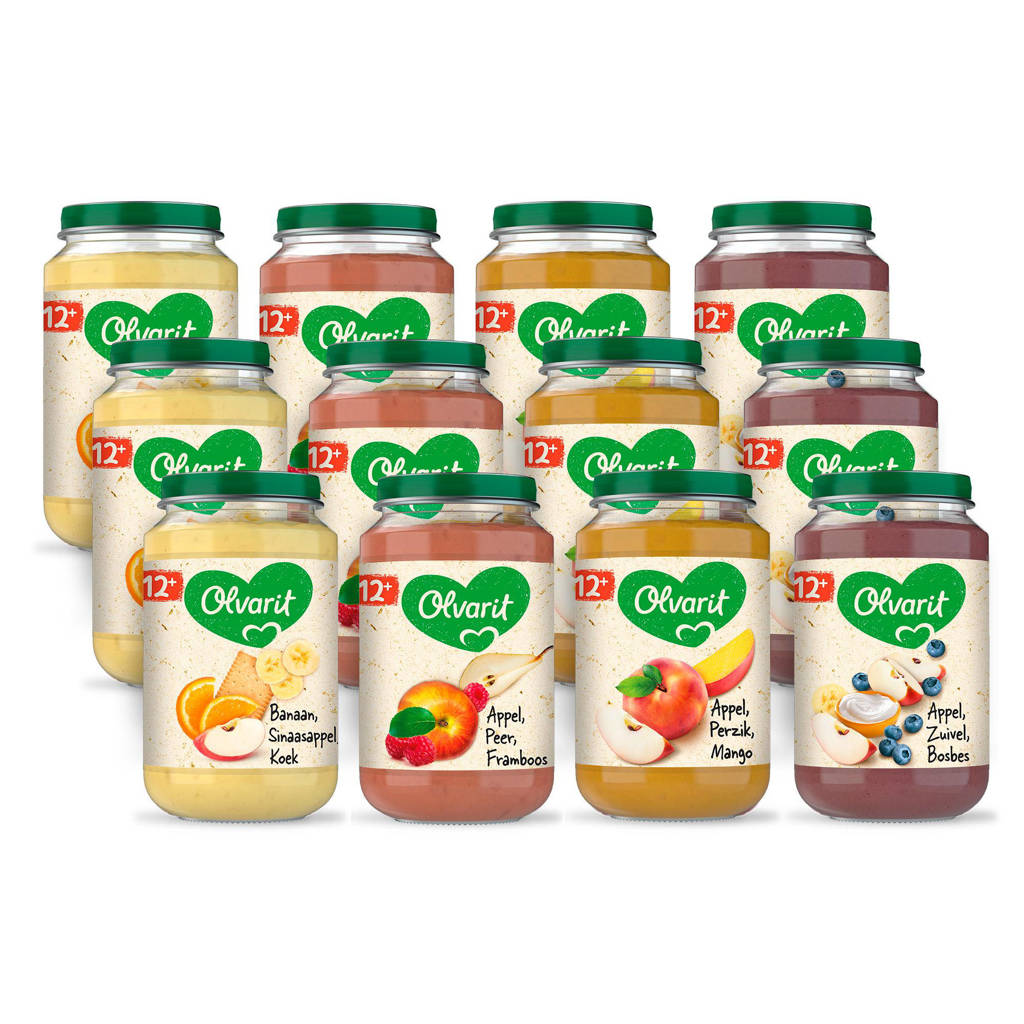 Olvarit babyvoeding menu 12+ mnd fruit (12x 200 gr)