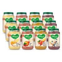Olvarit Variatiemenu Fruit - fruithapje voor baby's vanaf 12+ maanden - 4 verschillende smaken babyvoeding - 12 fruitpotjes van 200 gram