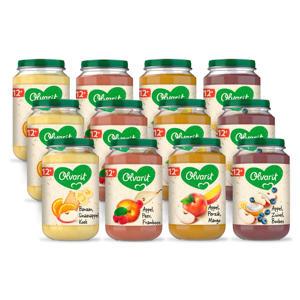 Variatiemenu Fruit - fruithapje voor baby's vanaf 12+ maanden - 4 verschillende smaken babyvoeding - 12 fruitpotjes van 200 gram