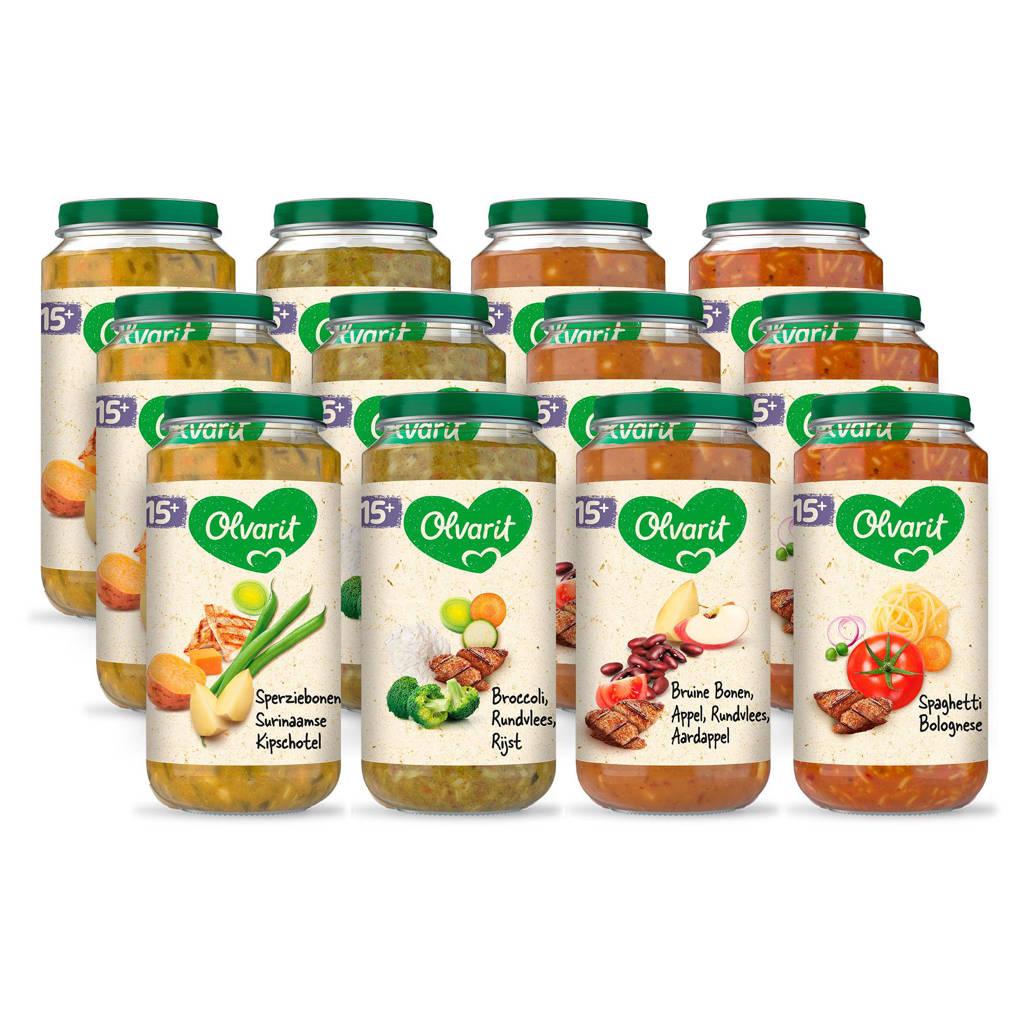 Olvarit Variatiemenu Maaltijd - babyhapje voor baby's vanaf 15+ maanden - 4 verschillende smaken babyvoeding - 12 maaltijdpotjes van 250 gram