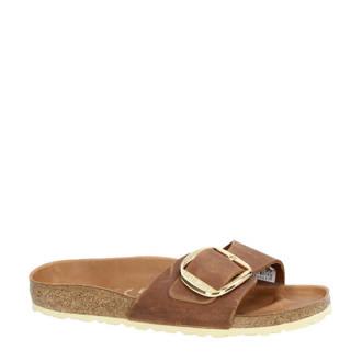Madrid Big Buckle leren slippers bruin