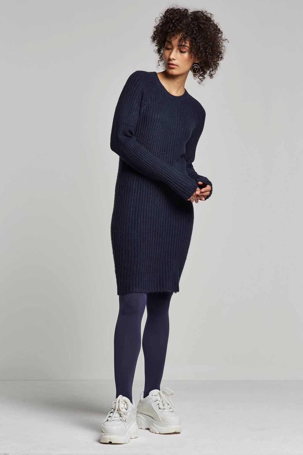 OBJECT gebreide jurk, Donkerblauw