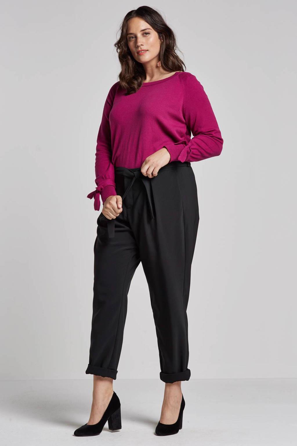 Zizzi pantalon met bindceintuur, Zwart
