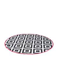 Bo-Camp rond buitenkleed (ø200 cm), Ø200 cm, Zwart, wit met een rode rand