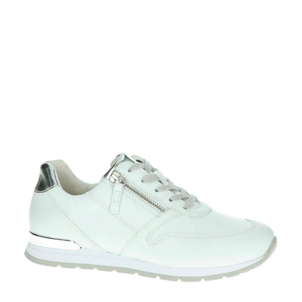 Gabor  leren sneakers, Wit/zilver