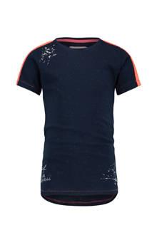 T-shirt Hajar donkerblauw gemeleerd