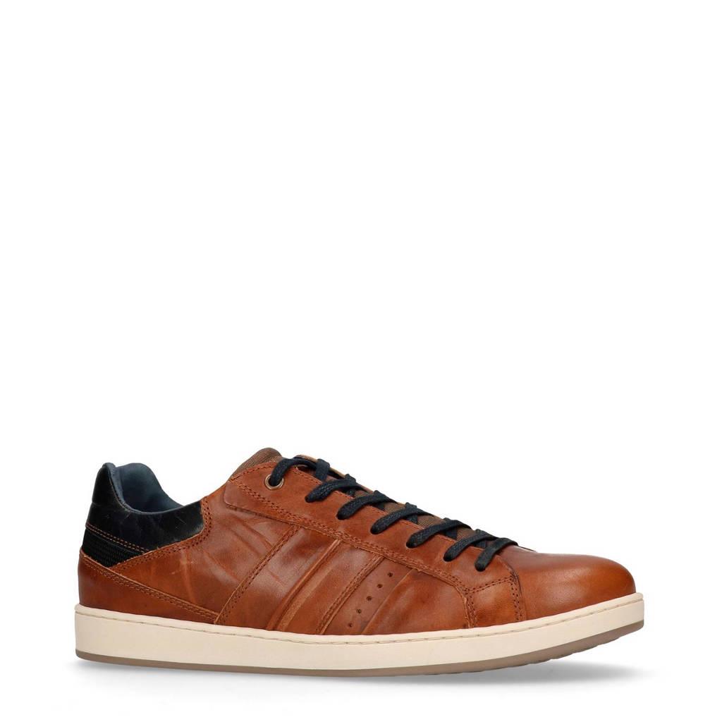 Manfield  leren sneakers, Cognac/marine/wit