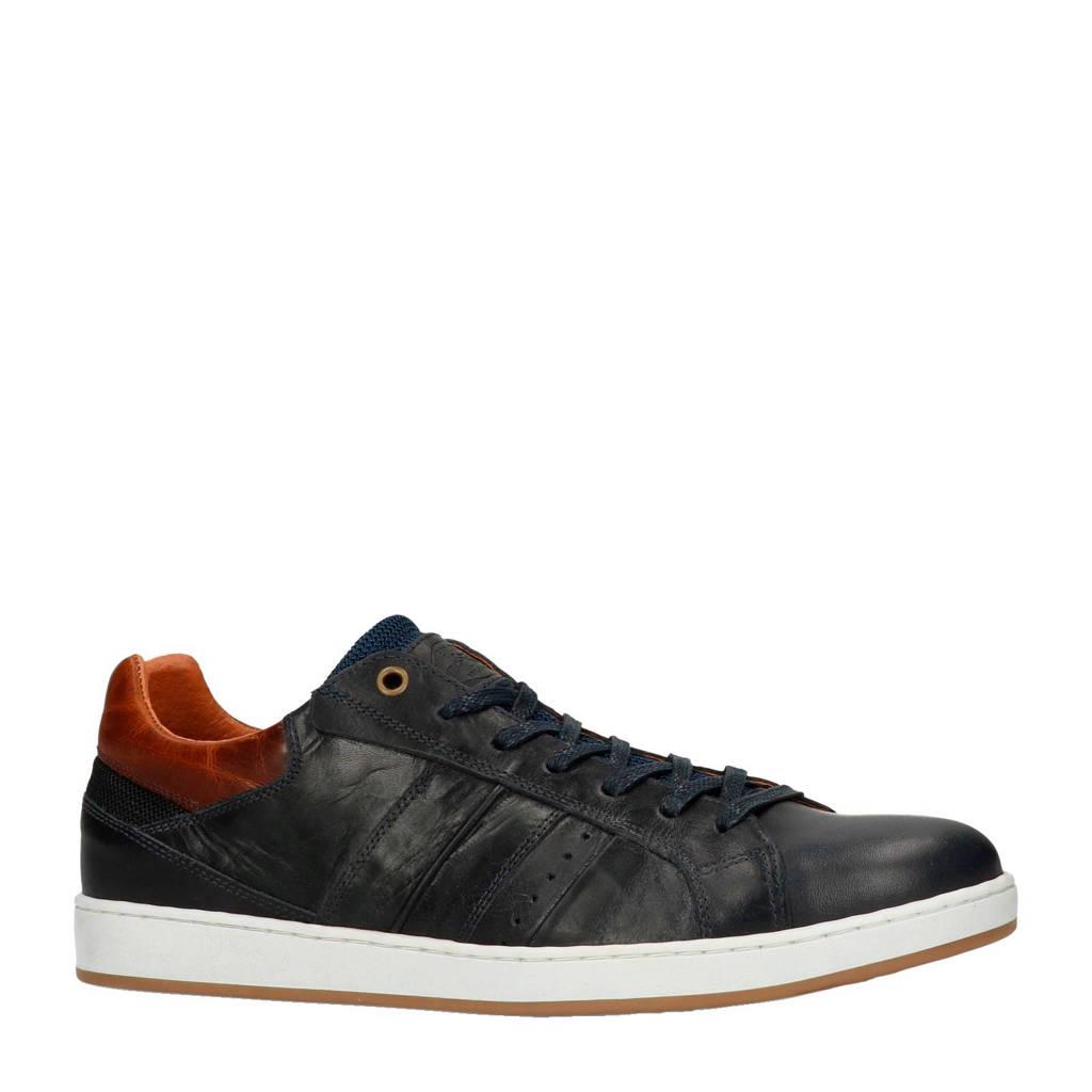 Manfield   leren sneakers donkerblauw, Donkerblauw/Cognac