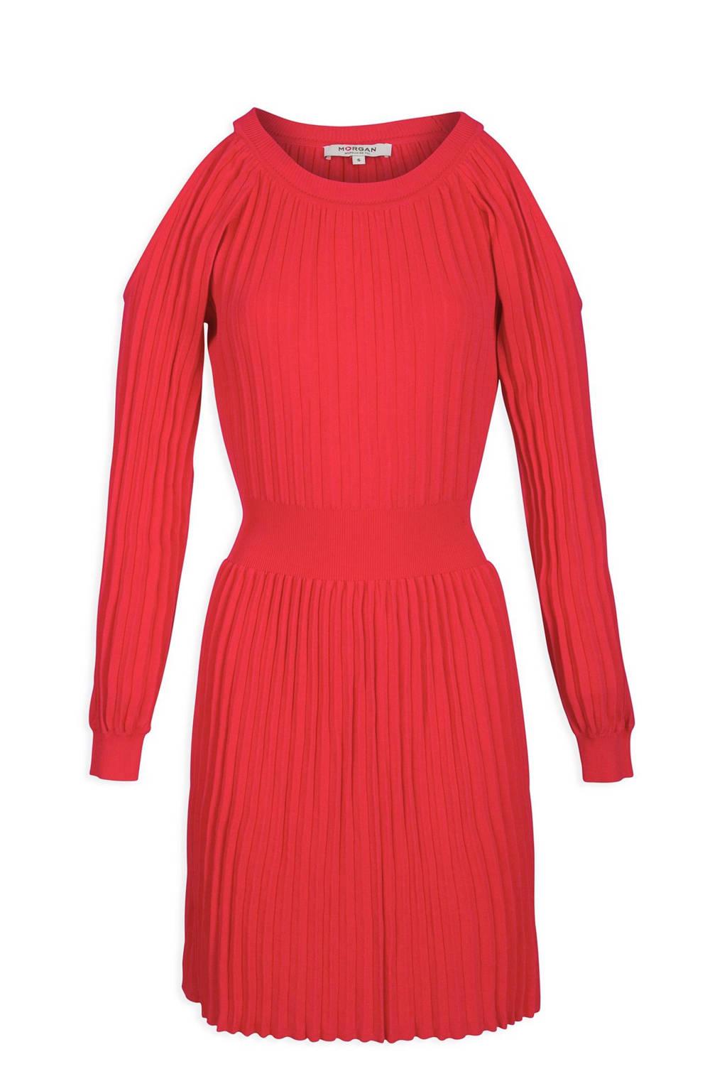 Morgan open shoulder plissé jurk rood, Rood