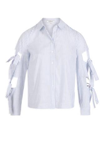 gestreepte blouse met opengewerkte details