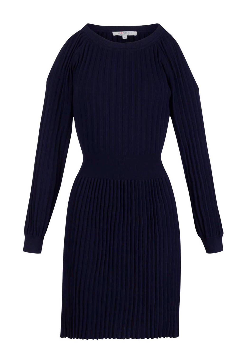 Morgan open shoulder plissé jurk marineblauw, Marineblauw