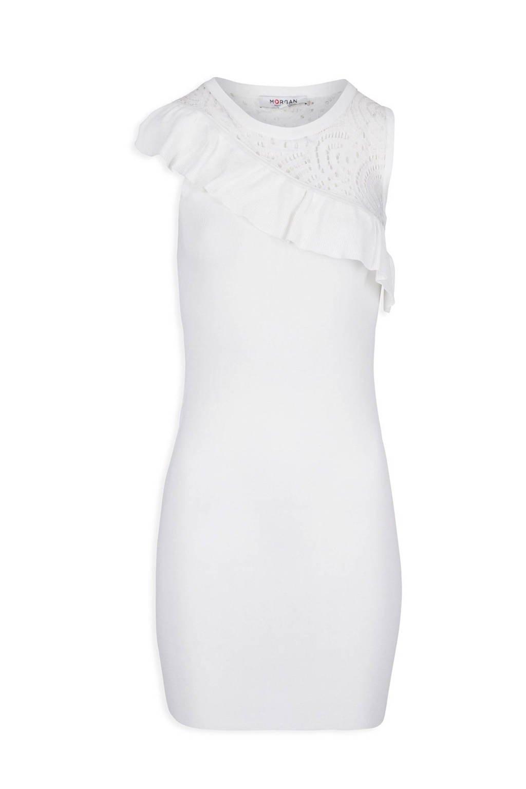 Morgan jurk met ruches wit, Wit