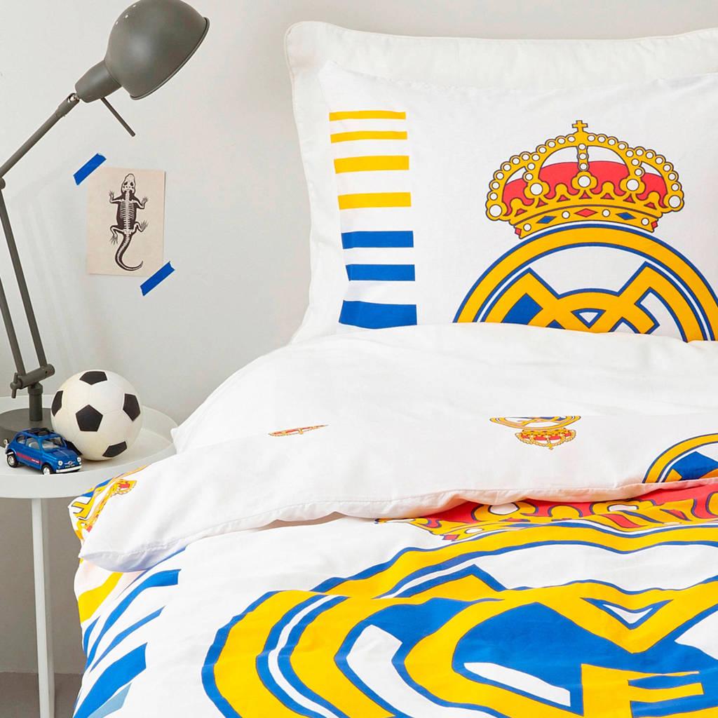 Real Madrid katoenen dekbedovertrek 1 persoons, Wit/blauw