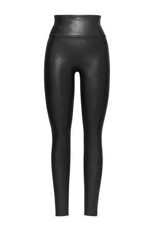 corrigerende imitatieleren legging zwart