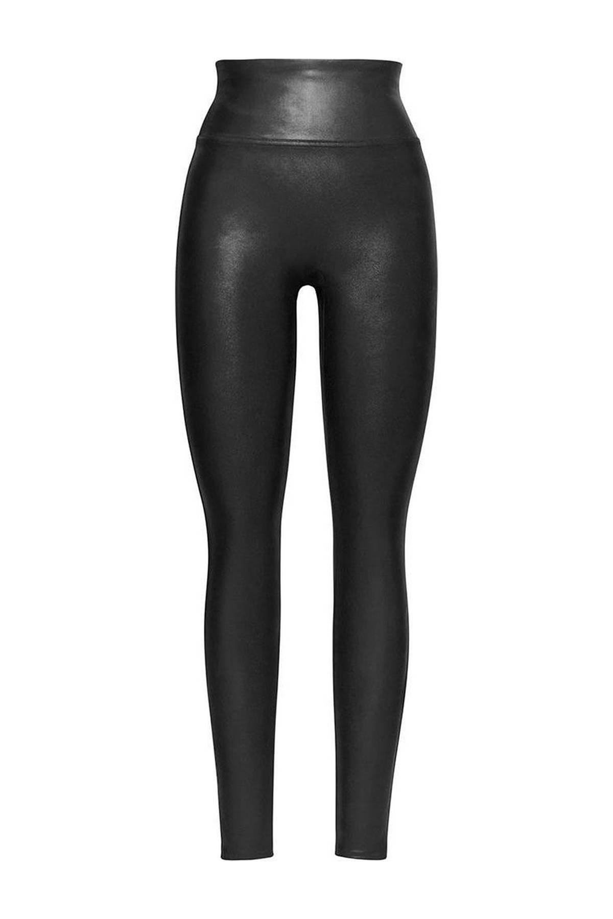 corrigerende legging Faux Leather zwart