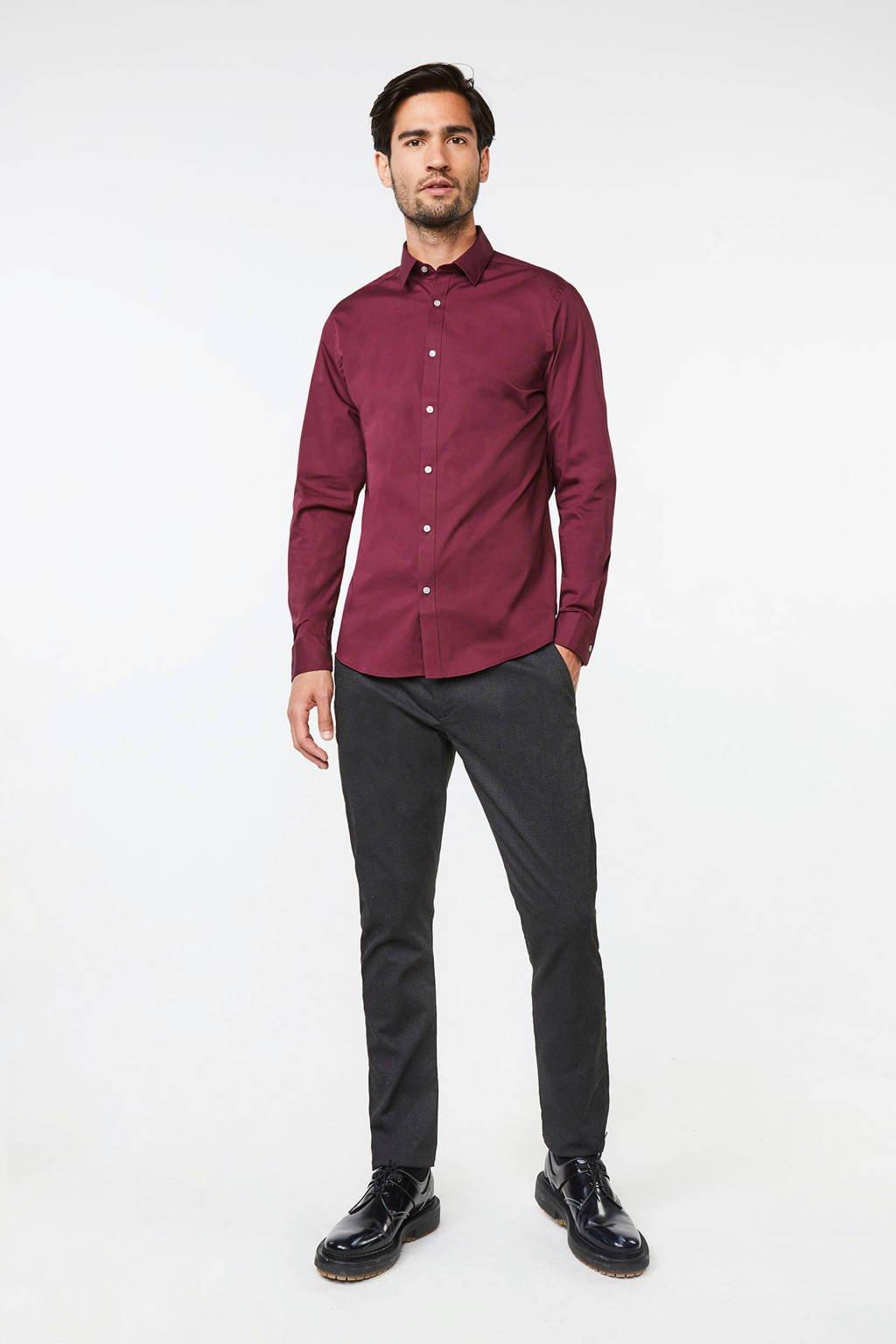 WE Fashion Fundamentals slim fit overhemd, Bordeaux