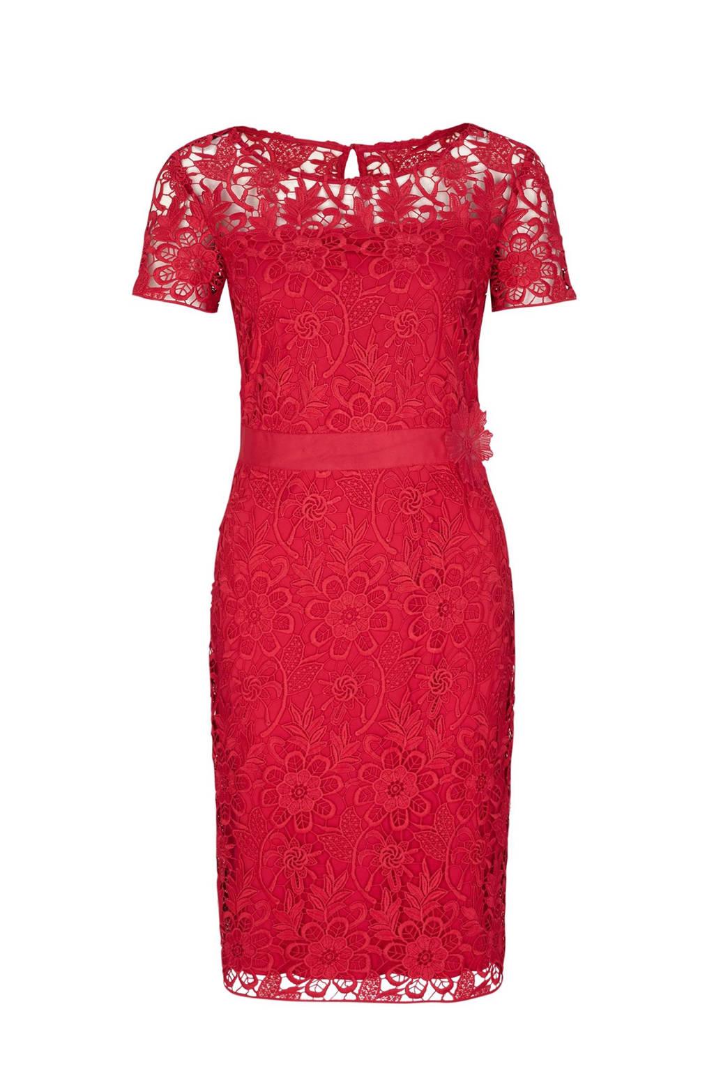 06acbbf5a0aac4 s.Oliver BLACK LABEL kanten jurk met bloemen rood