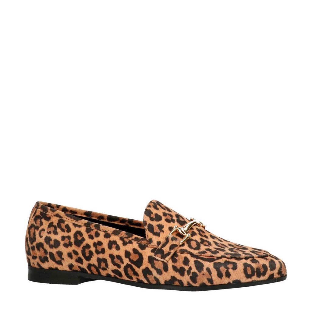 Sacha suède loafers met luipaardprint, Beige/bruin/zwart