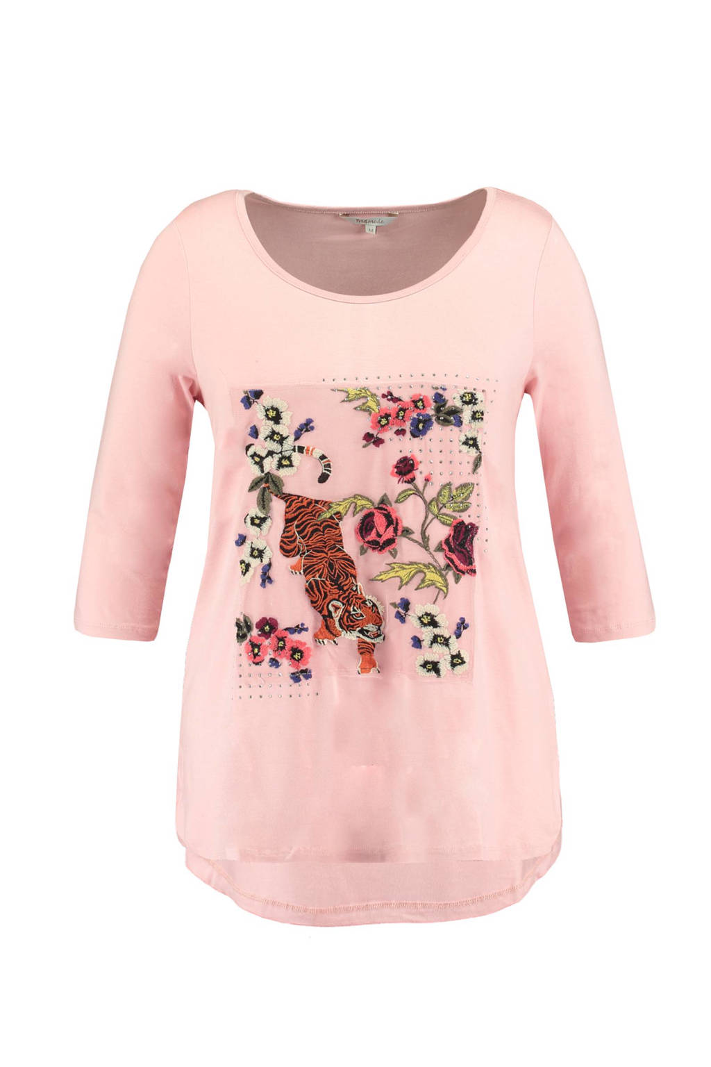 MS Mode T-shirt met bloemenborduursel, Roze